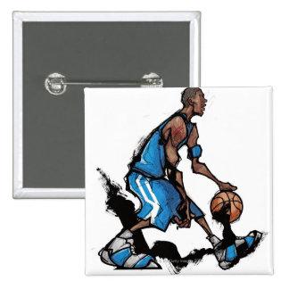 Basketball player dribbling ball button