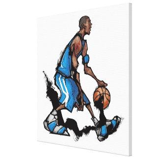 Basketball player dribbling ball canvas print