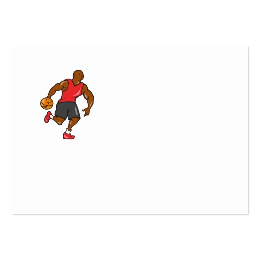 Basketball Player Dribbling Ball Cartoon Business Card Template
