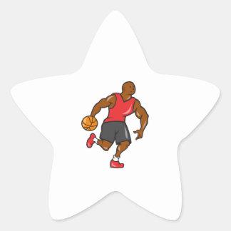 Basketball Player Dribbling Ball Cartoon Star Sticker