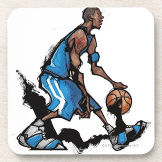 Basketball player dribbling ball coaster