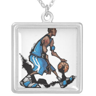 Basketball player dribbling ball square pendant necklace