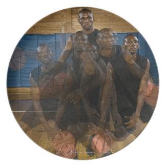 Basketball player dribbling ball on court melamine plate