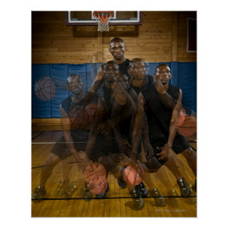 Basketball player dribbling ball on court poster