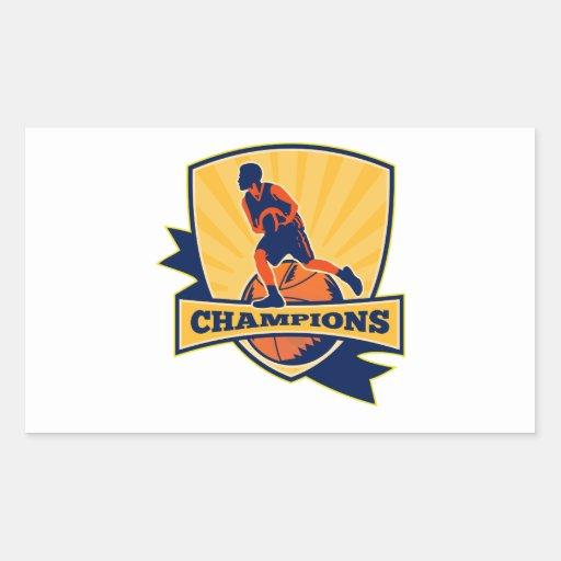 Basketball Player Dribbling Ball Retro Sticker