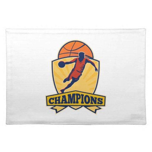 Basketball Player Dribbling Ball Shield Retro Placemat