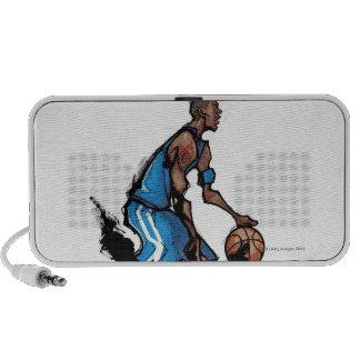 Basketball player dribbling ball travelling speakers