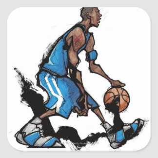 Basketball player dribbling ball square sticker