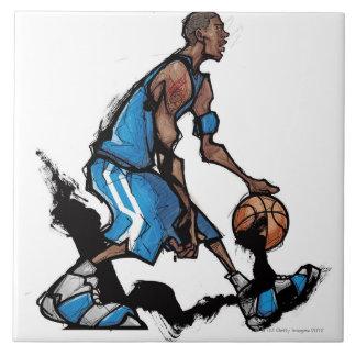 Basketball player dribbling ball tile