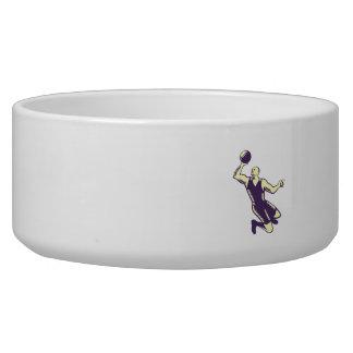 Basketball Player Dunk Ball Woodcut Dog Food Bowl
