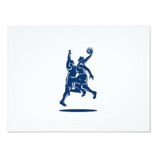 Basketball Player Dunk Block Retro Invitations