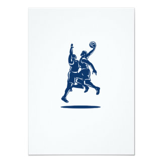 Basketball Player Dunk Block Retro 11 Cm X 16 Cm Invitation Card