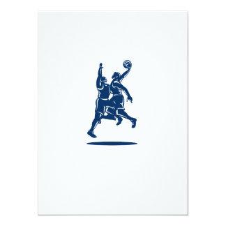 Basketball Player Dunk Block Retro 14 Cm X 19 Cm Invitation Card