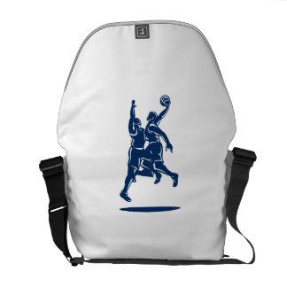Basketball Player Dunk Block Retro Commuter Bag