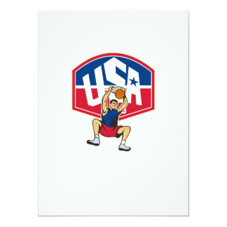 Basketball Player Dunking Ball USA 5.5x7.5 Paper Invitation Card