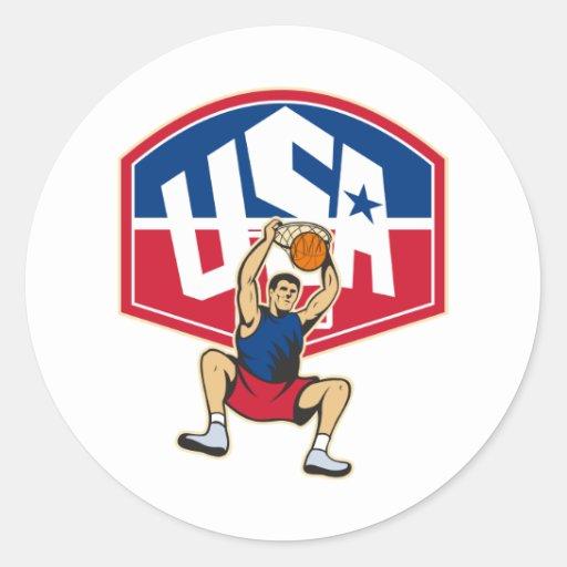 Basketball Player Dunking Ball USA Sticker