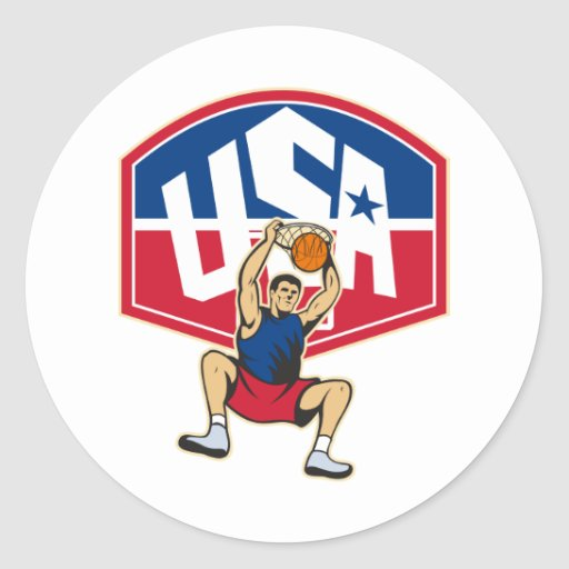 Basketball Player Dunking Ball USA Classic Round Sticker