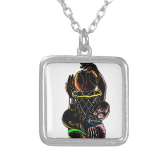 Basketball Player Dunking Blocking Ball Tattoo Silver Plated Necklace