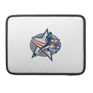 Basketball Player Fast Break Lay-Up Woodcut Sleeve For MacBooks