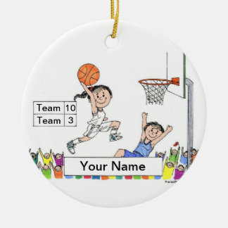 Basketball Player - female Ceramic Ornament