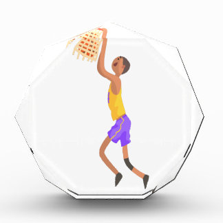 Basketball Player Hanging On Goal Action Sticker Award
