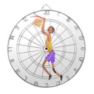 Basketball Player Hanging On Goal Action Sticker Dartboard With Darts