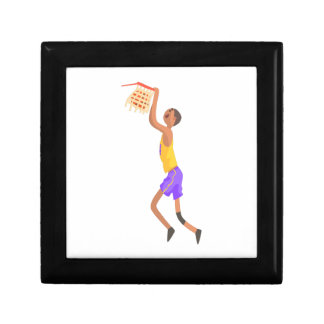 Basketball Player Hanging On Goal Action Sticker Jewelry Box