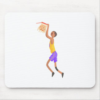 Basketball Player Hanging On Goal Action Sticker Mouse Pad