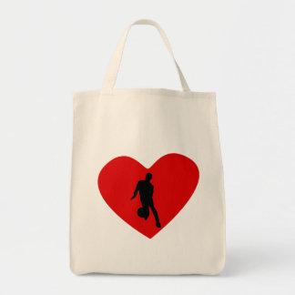 Basketball Player Heart Canvas Bags