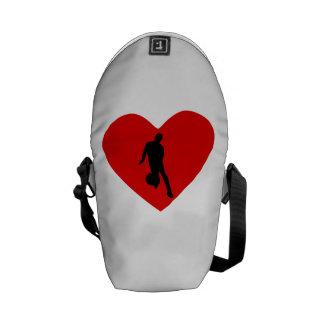 Basketball Player Heart Messenger Bags