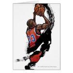 Basketball player holding ball cards