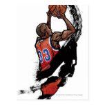 Basketball player holding ball postcards