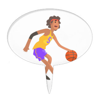 Basketball Player In Red Headband Action Sticker Cake Topper