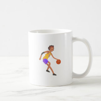 Basketball Player In Red Headband Action Sticker Coffee Mug