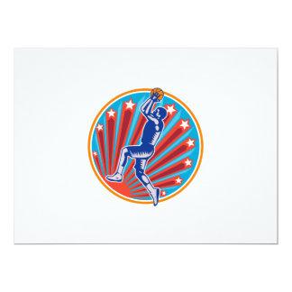 Basketball Player Jump Shot Ball Circle Woodcut re 6.5x8.75 Paper Invitation Card