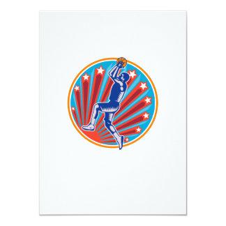 Basketball Player Jump Shot Ball Circle Woodcut re 4.5x6.25 Paper Invitation Card