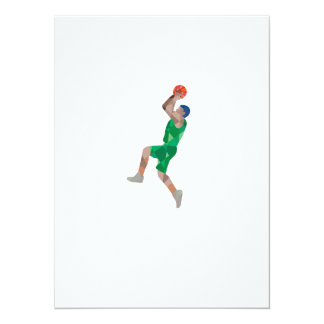 Basketball Player Jump Shot Ball Low Polygon 5.5x7.5 Paper Invitation Card