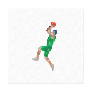Basketball Player Jump Shot Ball Low Polygon Canvas Print