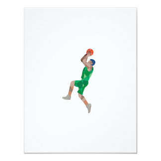 Basketball Player Jump Shot Ball Low Polygon 11 Cm X 14 Cm Invitation Card