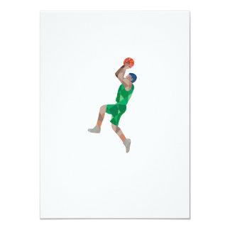 Basketball Player Jump Shot Ball Low Polygon 4.5x6.25 Paper Invitation Card