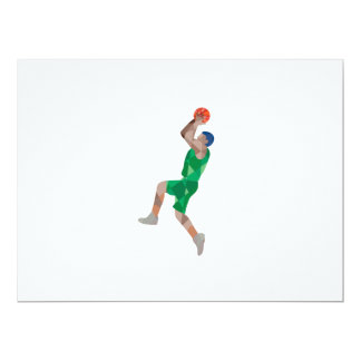 Basketball Player Jump Shot Ball Low Polygon 17 Cm X 22 Cm Invitation Card