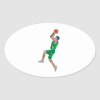 Basketball Player Jump Shot Ball Low Polygon Oval Sticker