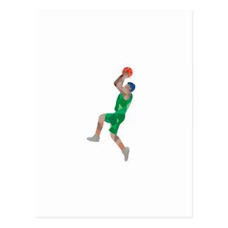 Basketball Player Jump Shot Ball Low Polygon Postcard