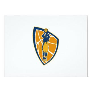 Basketball Player Jump Shot Ball Shield Retro 6.5x8.75 Paper Invitation Card
