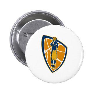Basketball Player Jump Shot Ball Shield Retro Pinback Button
