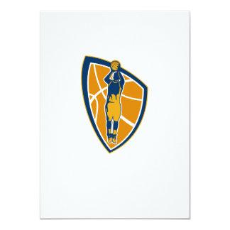 Basketball Player Jump Shot Ball Shield Retro 4.5x6.25 Paper Invitation Card