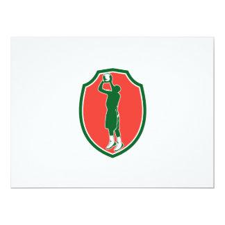 Basketball Player Jump Shot Ball Shield Retro 17 Cm X 22 Cm Invitation Card