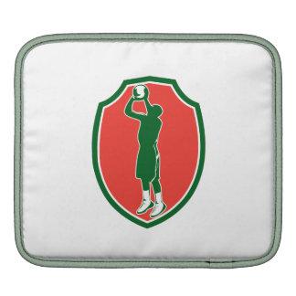 Basketball Player Jump Shot Ball Shield Retro Sleeves For iPads