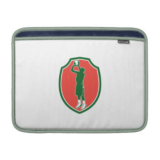 Basketball Player Jump Shot Ball Shield Retro MacBook Air Sleeves