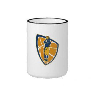 Basketball Player Jump Shot Ball Shield Retro Coffee Mugs